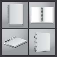 Set of spiral notebooks icons