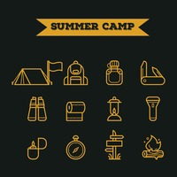 Set of summer camp icons