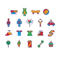 Set of toys and snack icons