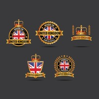 Set of united kingdom labels
