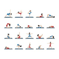 Set of yoga asanas