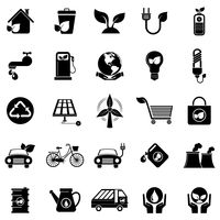 Silhouette of eco friendly icons set