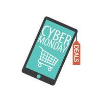 Smartphone with cyber monday sale design