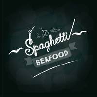 Spaghetti seafood menu card design