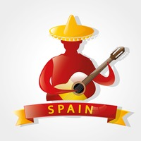 Spain flag on mexican guitarist