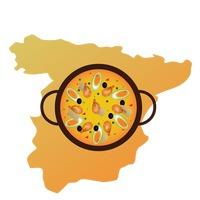 Spain map and paella de arroz