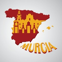 Spain map with cathedral of murcia