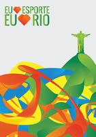 Sports competition banner with i love sport in portuguese