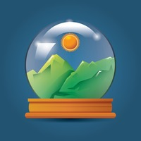 Sun and mountains in crystal ball