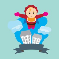 Super baby flying over the buildings