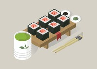 Sushi rolls and sauces