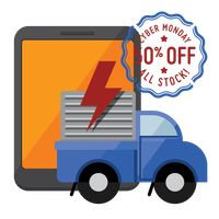 Tablet and delivery truck with cyber monday sale stamp