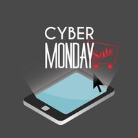 Tablet with cyber monday sale design