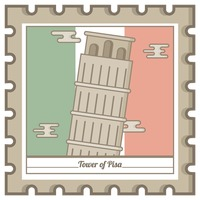 Tower of pisa postal stamp