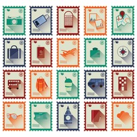 Travel stamp icons