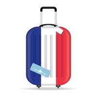 Travel suitcase with france flag