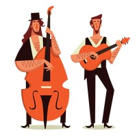 Two men playing guitar and double bass
