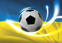 Ukraine flag with soccer ball