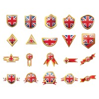 United kingdom flag ribbons and buttons