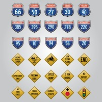 Usa road signs icons