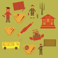 Various education concept icons