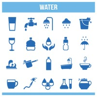 Various water icons set