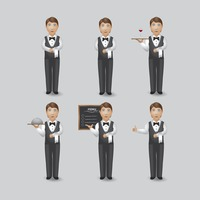 Waiter in various activities collection