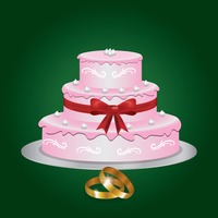 Wedding cake with rings