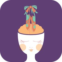 Woman with ballet shoes on mind concept