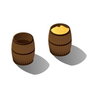 Wooden barrel with gold