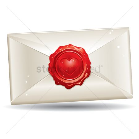 Romantic : A letter sealed with a hearts shape wax