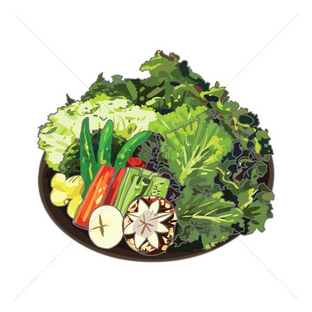 Vectors : A plate of raw vegetables