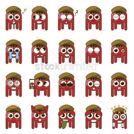 Selfie : A set of octopus emoticon showing various facial expressions and actions