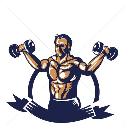 Ribbon : Bodybuilder lifting dumbbell poster