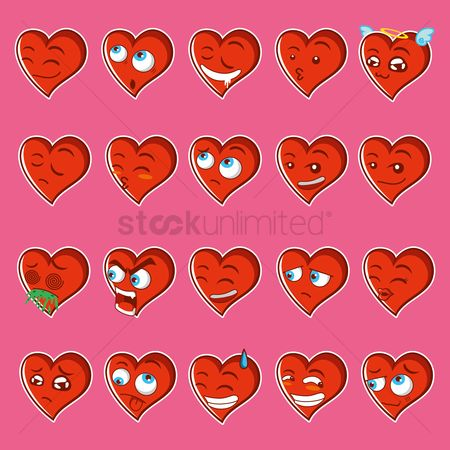 Romantic : Collection of facial expression heart shaped