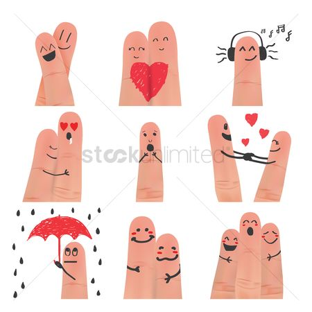 Romantic : Collection of finger art facial expression