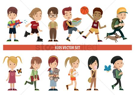 Girl : Collection of kids in various activities