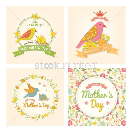 Birds : Collection of mothers day cards