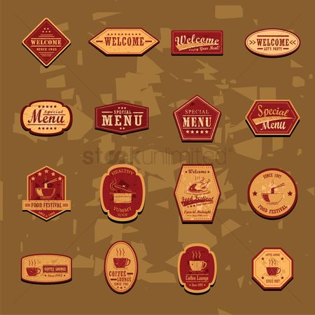 Grunge : Collection of restaurant labels