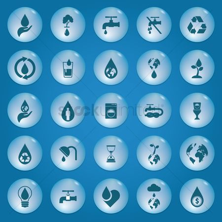 Environment : Collection of save water icons