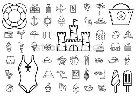 Water : Collection of summer icons