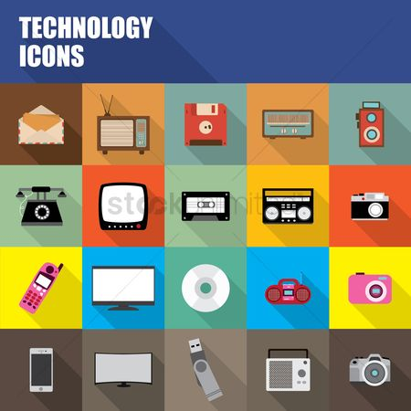 Vintage : Collection of technology icons
