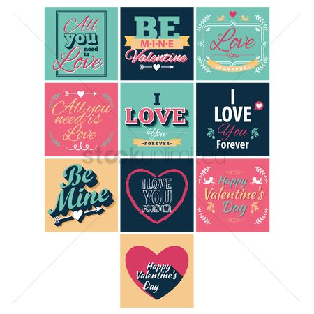 Romantic : Collection of valentine cards