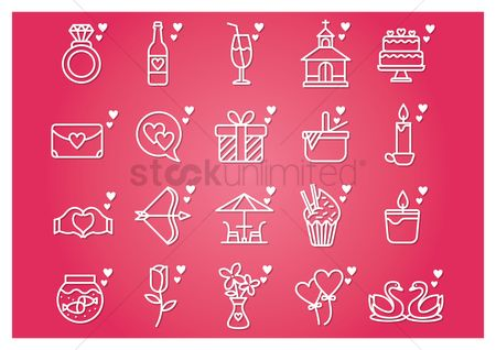 Romantic : Collection of valentines icons