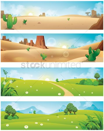 Vectors : Collection of various scenery banners