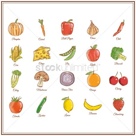 Food : Collection of vegetables and fruits