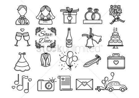 Romantic : Collection of wedding icons