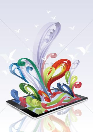 Ribbon : Colorful ribbon come out from a tablet