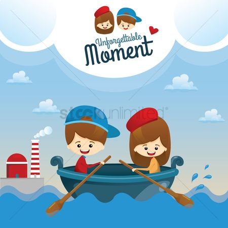 Romantic : Couple in boat