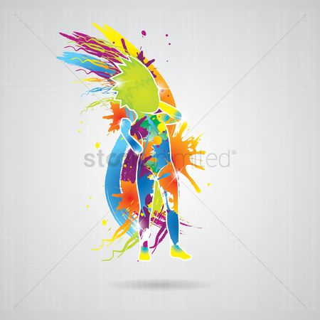 Children : Dancing boy with colorful splash